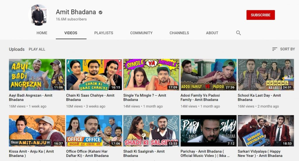 youtube channel of amit badhana