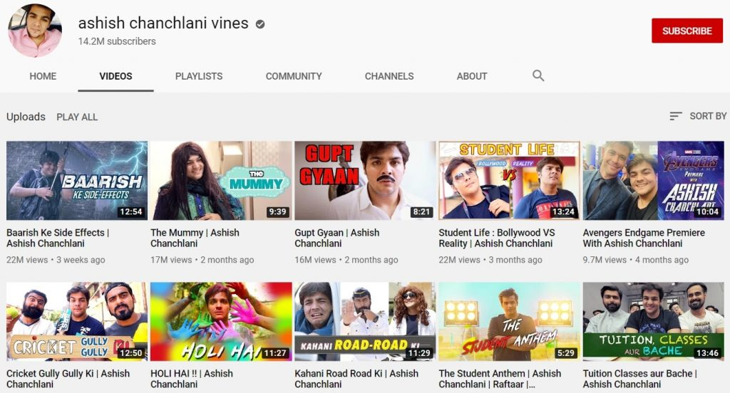 youtube channel of ashish chanchlani