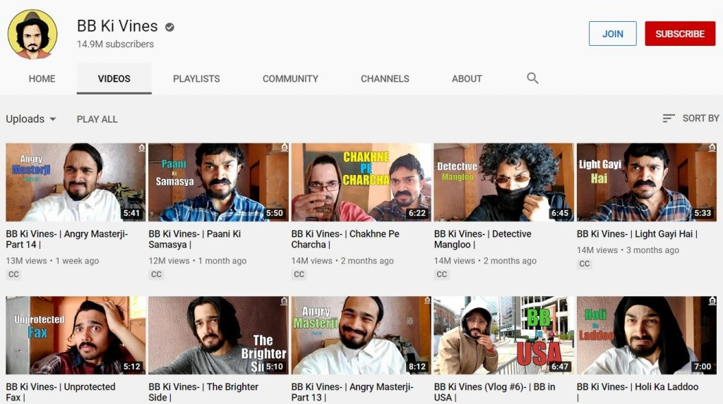 youtube channel of bb ki vines