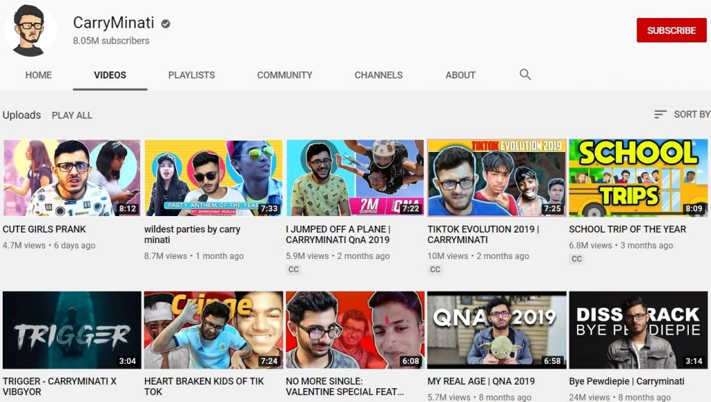 youtube channel of CarryMinati