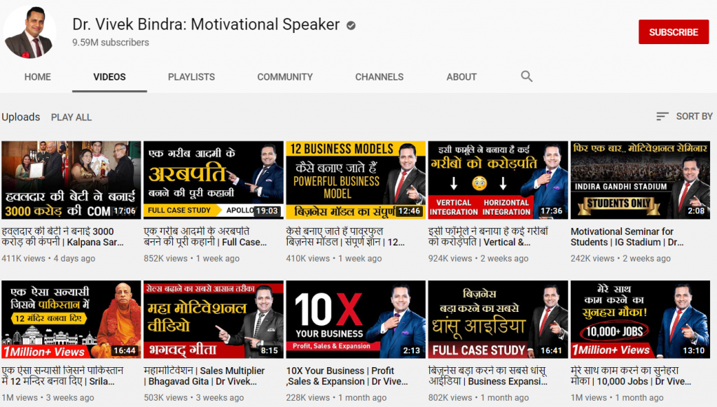 youtube channel of Dr. vivek bindra