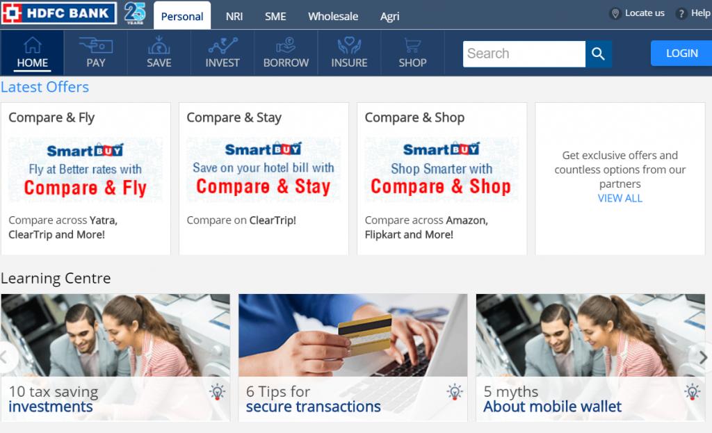Hdfc bank online website (Top private bank)