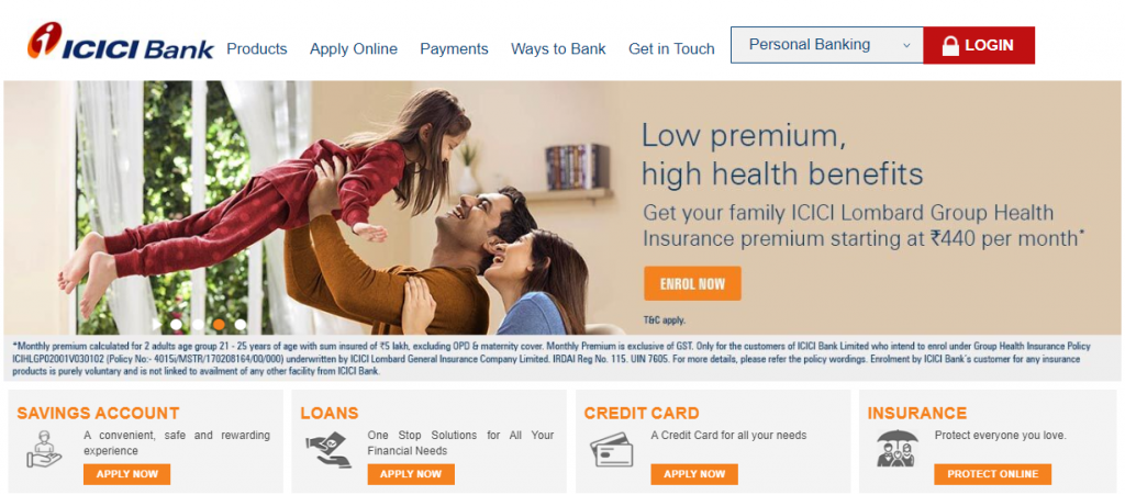 Icici bank online website (Top private bank)