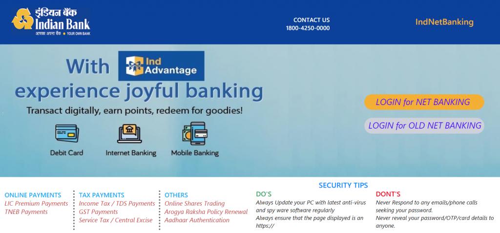 Indian bank online website (Top government bank)