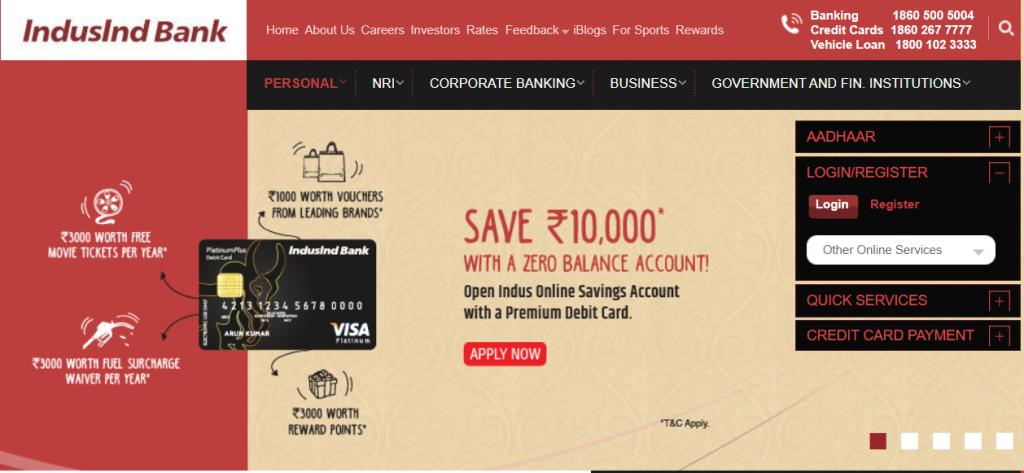 IndusInd Bank Limited online website (Top private bank)