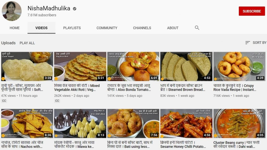 youtube channel of Nisha Madhulika