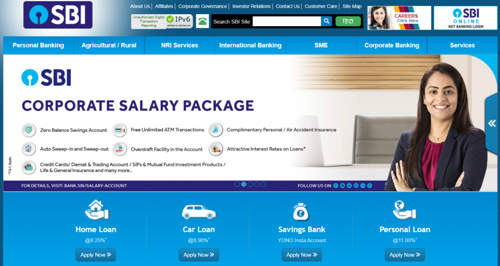 state bank of india online website (Top public sector bank))