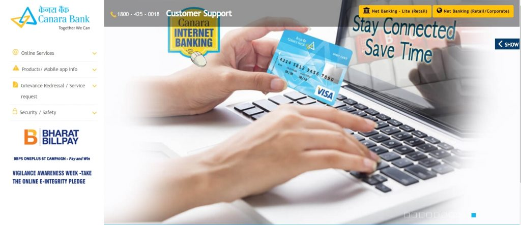 canara bank online website (Top government bank)