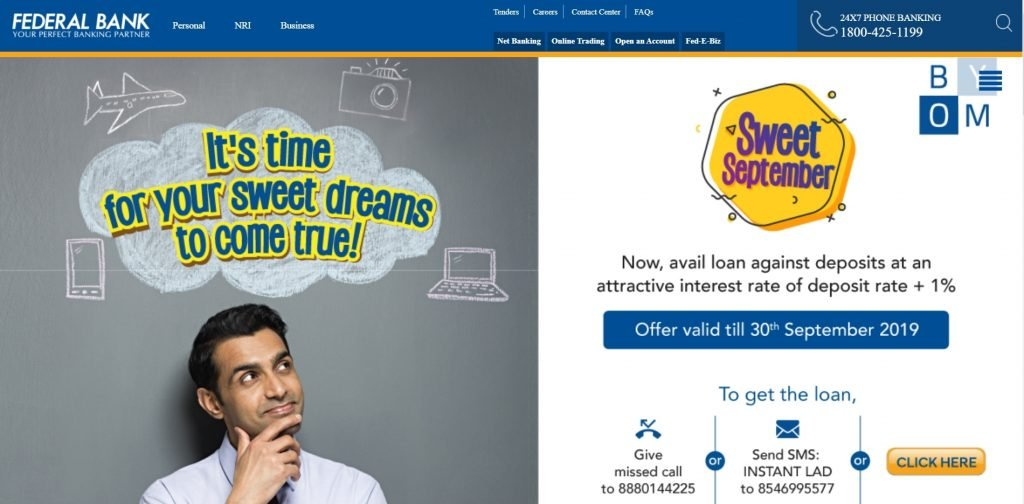federal bank online website (Top private bank)