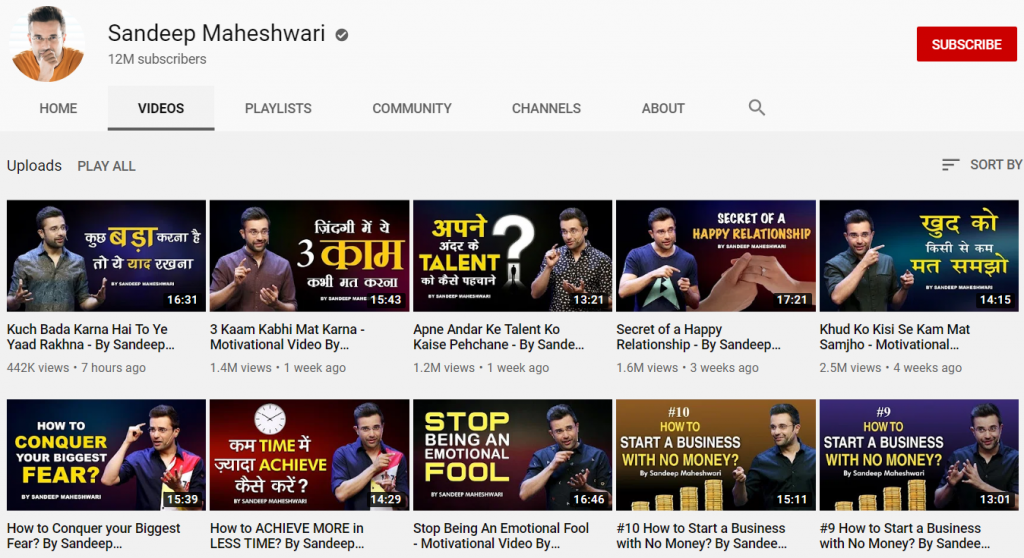 youtube channel of sandeep maheshwari