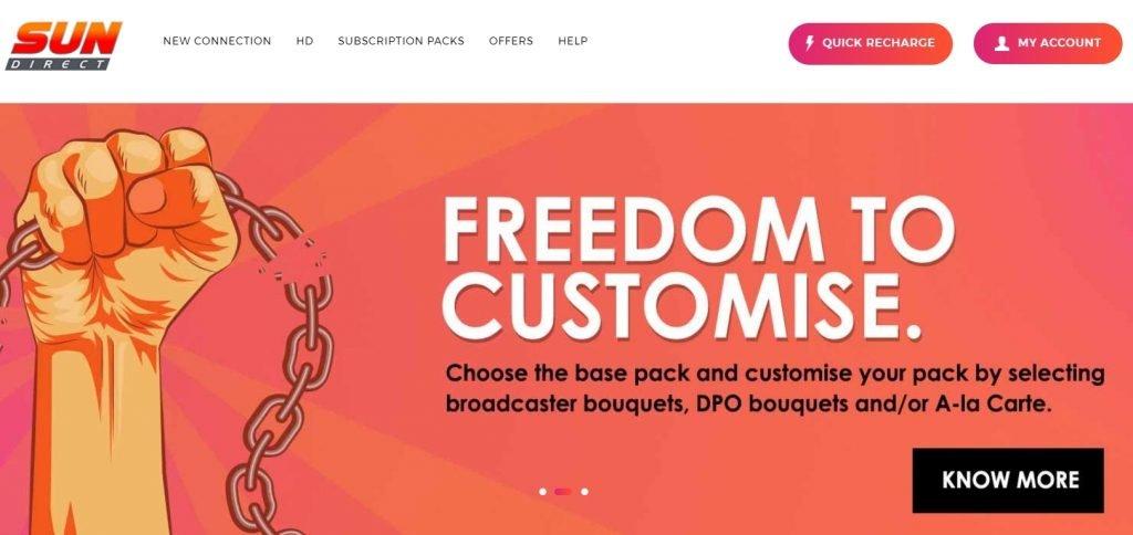sun direct online web portal: Best DTH Service