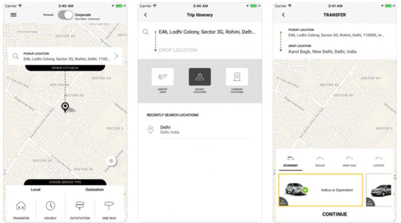 Carzonrent cab booking app
