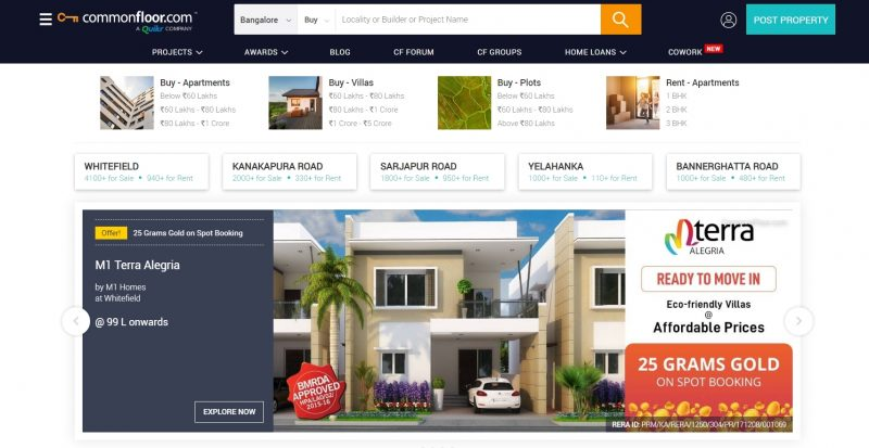 CommonFloor property search site in india
