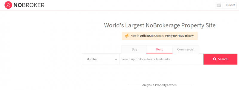 Nobroker property search site in india