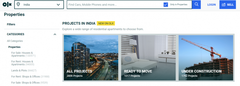 OLX homes property search website