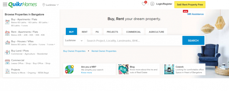 Quikr Homes property search site