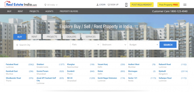 RealEstateIndia property search site in india