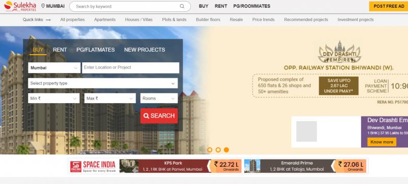 Sulekha Properties real estate website