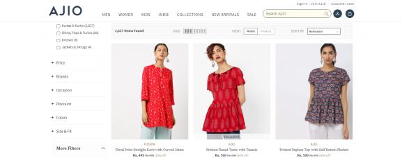 Ajio: Online Site To Buy Kurtis