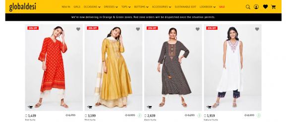 Global Desi: Online Site To Buy Kurtis