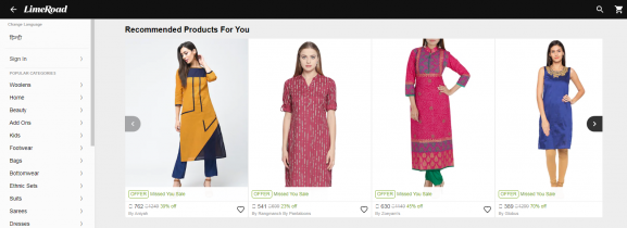 LimeRoad: Online Site To Buy Kurtis