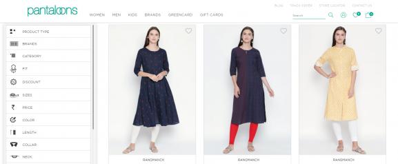 Pantaloons: Online Site To Buy Kurtis
