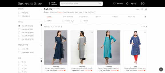 Shoppers Stop: Online Site To Buy Kurtis