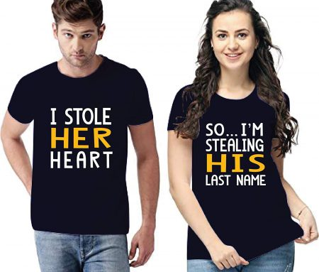 A.X Unisex Round Neck Cotton Tshirts for Lovers I Stole Her Heart So I'm Stealing His Last Name Printed Matching Tees for Men's & Women's (Set of 2): Best Couple Tshirts