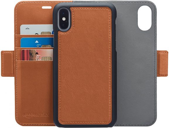 AmazonBasics Apple iPhone PU Leather Wallet Detachable Case: Best iPhone XS Cover
