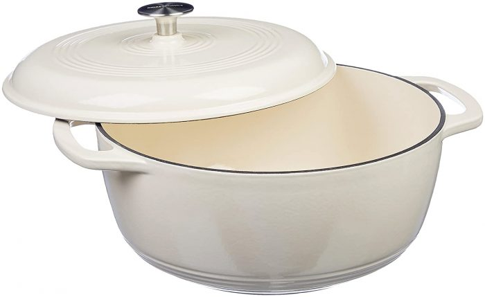 AmazonBasics Enameled Heavy Duty Cast Iron 4.07 Liters Dutch Oven: Best Dutch Oven