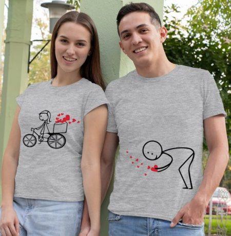 Be Awara Heart Trail Couple T-shirts: Best Couple Tshirts