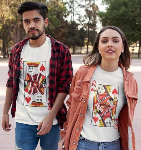 Be Awara King Queen Cards Couple T-shirts: Best Couple Tshirts