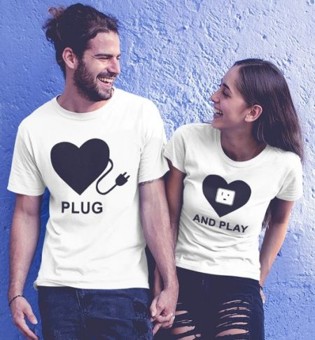 Be Awara Plug And Play Couple T-shirts: Best Couple Tshirts