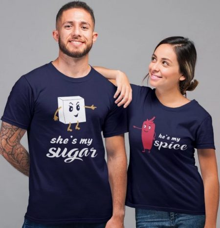 Be Awara Sugar and Spice T-shirts for couples: Best Couple Tshirts