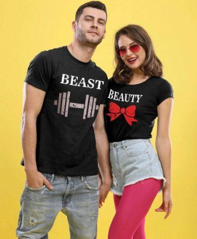 Bonorganik Beauty and Beast, Matching Couple T-shirts: Best Couple Tshirts