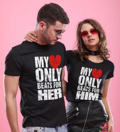 Bonorganik Heart Beat, Matching Couples T-shirts: Best Couple Tshirts