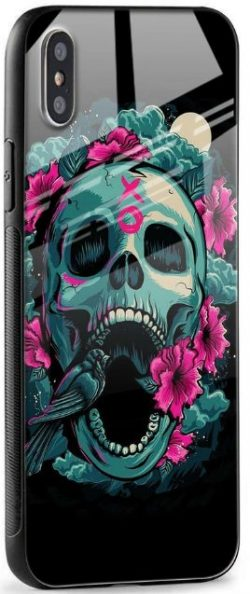 Colorful Skull Texture Glass case for iPhone XS: Best iPhone XS Cover