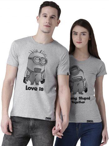DUO Men's & Women's Printed Regular Fit T-Shirt (Pack of 2) HS - Minions Grey Medium: Best Couple Tshirts