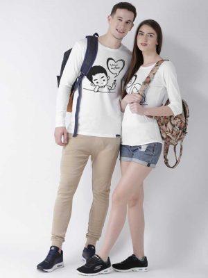 Duo Couple Self design round neck shirt- white: Best Couple Tshirts