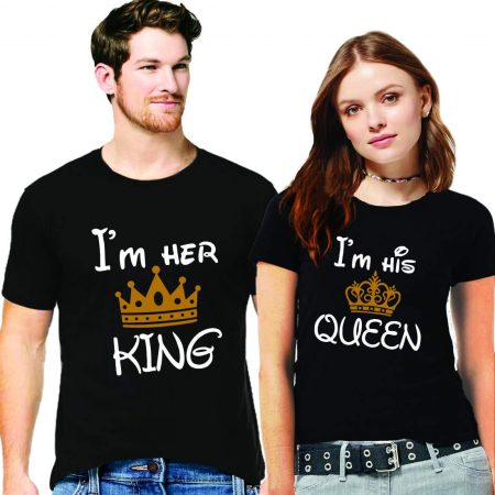 Hangout Hub Couple Men's & Women's Cotton Printed Regular T-Shirts (Pack of 2) - I Am Her King His Queen: Best Couple Tshirts