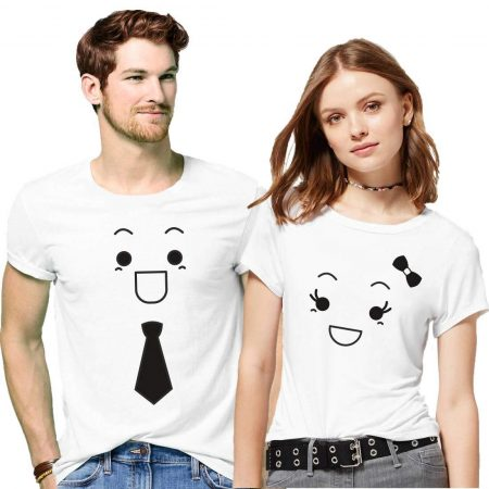 Hangout Hub Couples Cotton Printed T-Shirts (Pack of 2) - Smiling Face Emoji Tie and Bow: Best Couple Tshirts