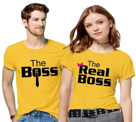 Hangout Hub Men's & Women's Cotton Printed Regular Fit T-Shirts (Pack of 2) - The Boss The Real Boss: Best Couple Tshirts