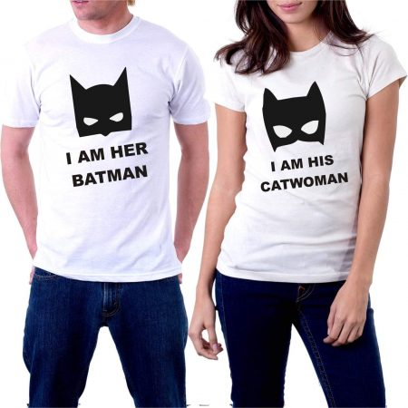 I'm Her Batman I'm His Catwoman Printed Cotton Tshirt for Couples: Best Couple Tshirts