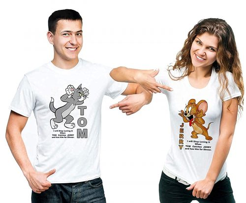 SHRENIM Poly Cotton White Tom and Jerry Round Neck Couple T-Shirt: Best Couple Tshirts