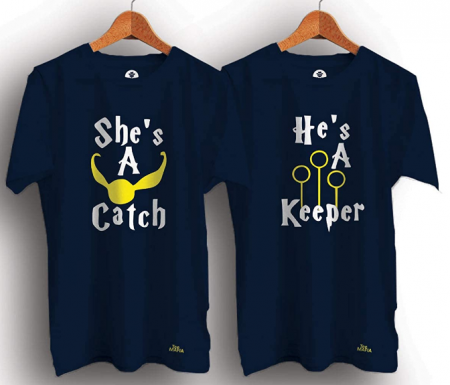 Tee Mafia Unisex Couple Catch and Keeper Combo T-Shirts, Harry Potter T-Shirts, Black (Pack of 2): Best Couple Tshirts