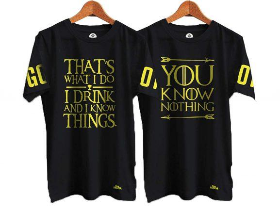 Tee Mafia Unisex Couple Game of Thrones Combo T-Shirts | Jon Snow T-Shirts| Couple T-Shirt| Black (Pack of 2): Best Couple Tshirts