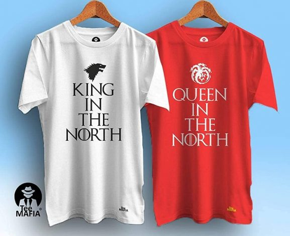 Tee Mafia Unisex Couple Games of Thrones T-Shirts | King in The North T-Shirts| Couple T-Shirt| Black (Pack of 2): Best Couple Tshirts