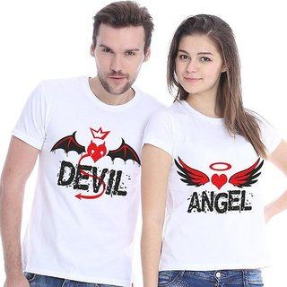 """WE2 """"Devil and Angel"""" cute couples T-shirt: Best Couple Tshirts"""