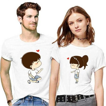 YFB printed couples round neck white shirts: Best Couple Tshirts