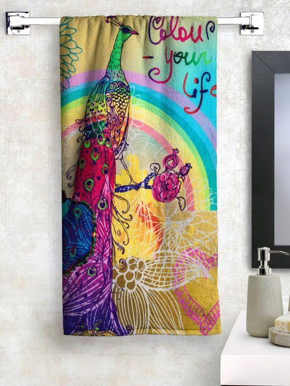 Athom Trendz Beige & Blue Printed Bath Towel - best printed bath towels (2020)